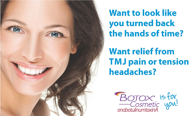 Botox for TMJ pain and headaches, cosmetic dentist Franklin, TN, Zoom in-office whitening, teeth whitening, family dentist office.